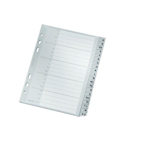 Leitz Register für A5, Deckblatt aus Karton und 20 Trennblätter aus Kunststoff, Taben mit alphabetischem Aufdruck A-Z, Überbreite, Grau, 12650000