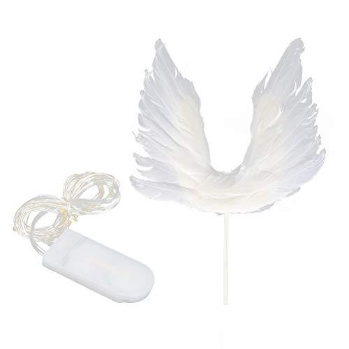 YeahiBaby Feder Engel Flügel Kuchen Cupcake Topper Picks mit LED Licht für Baby Kinder Geburtstag Jubiläum Hochzeit Party Deko