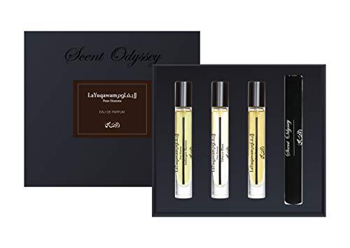 La Yuqawam Pour Homme Collection – Duft ODYSSEY Eau de Parfum je 7,5 ml – Set von 3 – Pour Homme 7,5 ml, Tobacco Blaze 7,5 ml, Ambergris Showers 7,5 ml von Rasasi