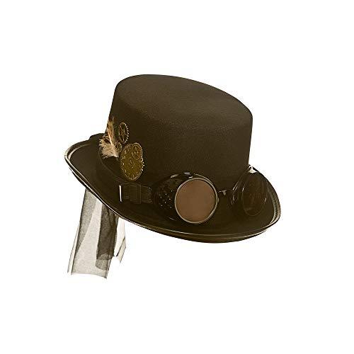Wicked Costumes Sombrero negro adulto Steampunk Unisex con gafas Acces