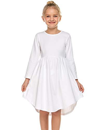 Parabler Mädchen LangarmKleid T-Shirt Kleid Skaterkleid Einfarbige Kleid Festival Kleidung mit Rundhals Weiß Gr.140