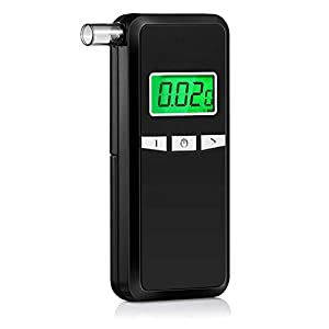 Breathalyzer, Portable Breathalyzer Alcohol Tester with Digital Breath Alcohol Tester with Blue Backlight LCD Display for Personal & Professional Use with 5 Mouthpieces