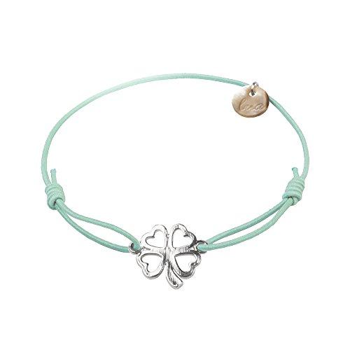 lua accessories - Armband Damen - Elastikband - größenverstellbar - hochwertig versilbertes Kleeblattsymbol - Clover silber (mint)
