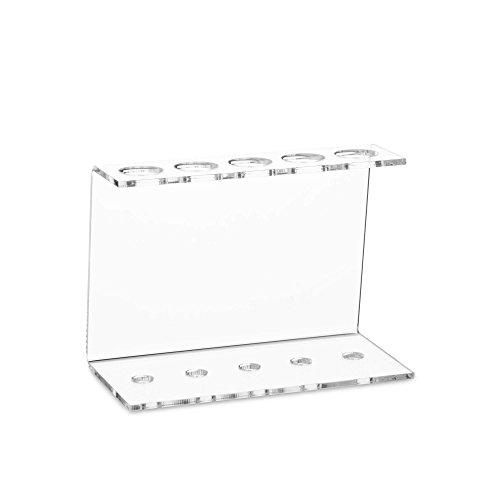 Tuuters 5-Loch Reagenzglashalter aus Acryl | Glasklar ✓ Deko ✓ Diverse Größen (5-Loch Rack - Ø 20.5mm)