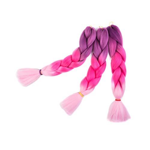3 Packs Hair Jumbo Flechten Hair Extensions Colorful Kunsthaar Kanekalon Haar für Heimwerker Crochet Box Zöpfe Ombré Lila 3 Tone Color 100 g/pcs 61 cm (Peach Pink)