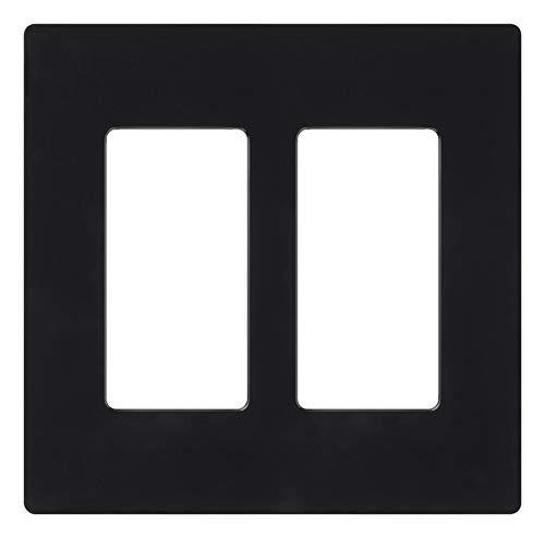 Lutron Placa de parede decorativa Claro 2, CW-2-BL, preta