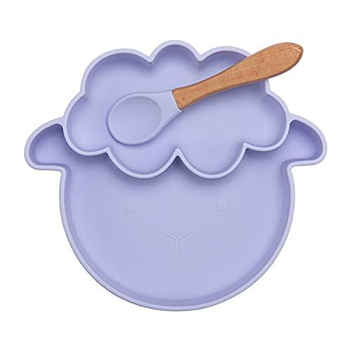 Pecora 1 set di padelle, cucchiai impermeabili a forma di agnello e prodotti per l'alimentazione del bambino senza BPA (colore : Viola C)