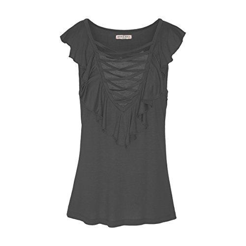Brave Soul - Camiseta sin mangas para mujer con volantes, cuello en V, de kevan Negro S
