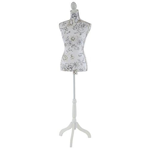 Manichino sartoriale busto donna T222 fibre di vetro con treppiede ~ bianco con fiori
