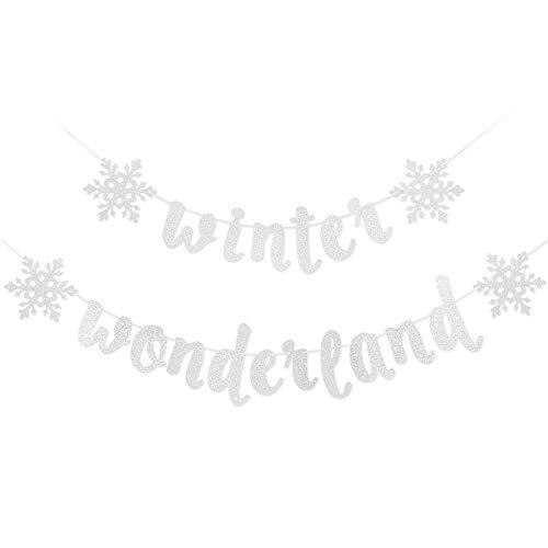 Snowflake Winter Wonderland Banner - Silver Glittery Winter Wonderland Snowflake Decorations, Winter Wonderland Snow Frozen Christmas Themed Birthday Party Decorations Supplies