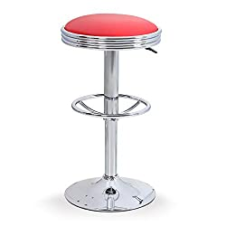 ALPHA HOME Swivel Bar Stool Counter Height Round PU Leather Adjustable Chair Pub Stool with Chrome Footrest (Red, 1 pc)