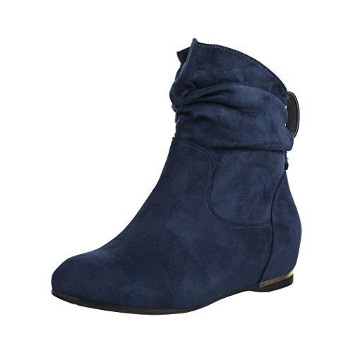 Elara Damen Stiefeletten Boots Keilabsatz Chunkyrayan C270 Dunkelblau-40