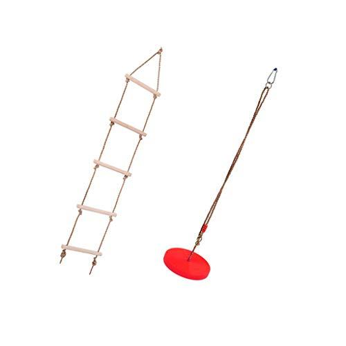 yotijar Disco de escalada rojo y escalera de escalada para juegos al aire libre para