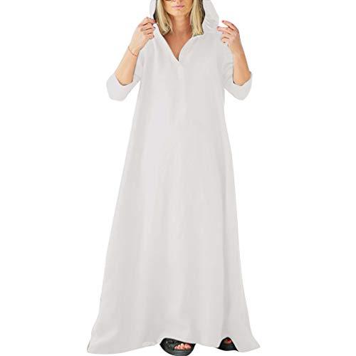 Amphia Gothic Damen Mittelalterlich Renaissance Mit Kapuze Kleid Rock - Frauen Leinen solid National Style Lose Plus Größe Mid Sleeve V-Ausschnitt Hoodie Kleid