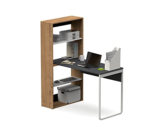 Muebles Pitarch Estudio Despacho, Aglomerado de partículas y melanina de Alta Densidad, Gris/Roble Gold/Blanco, 143 x 120 x 72 cm