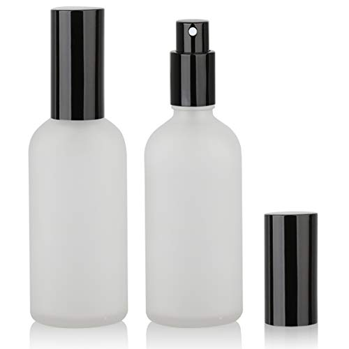 Glass Spray Bottle, Empty Fine Mist Spray Bottle, Perfume Atomizer, Black metal Sprayer (3.4oz 2Pack)