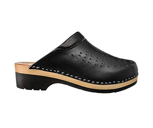 ESTRO Zuecos De Madera para Mujer Calzado Sanitario De Trabajo CDL02 (Negro 2, Numeric_38)