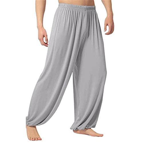 N\P Men Casual Solid Color Baggy Trousers Belly Dance Yoga Harem Pants Slacks