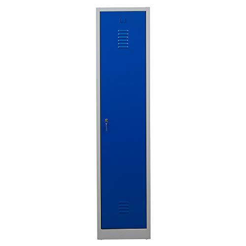 Certeo Garderobenspind | HxBxT 180 x 41,5 x 50 cm | Zylinderschloss | Grau-Blau | Garderobenspind Umkleidespind Spind Schrank Abschließbar