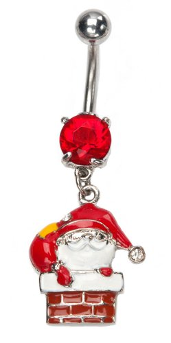 Red Santa clause Christmas dangle Belly button navel Ring piercing bar body jewelry 14g