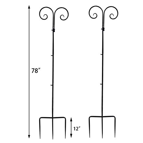 Vencer Set of 2 Double Shepherd Hook 78 Inch Heavy Duty 7/10 in Thick Rust Resistant Premium Metal Hook for Weddings Hanging Plant Baskets Solar Lights Christmas Lights Lanterns Bird Feeders,VHH-002