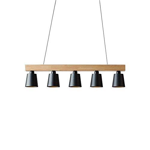 CHUANGJIE E27 hanglamp eettafel houten hanglamp zwart plafondlamp in hoogte verstelbaar warmwit voor eetkamer werkkamer woonkamer kantoor café restaurant