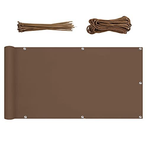 Sekey Pantalla para Balcón Jardín Protección de Privacidad Opaca Polyster, Protección UV, Resistente al Viento, se Puede Cortar, con Cuerda y Bridas 0.9×6m Marrón