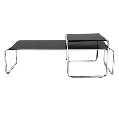 2er Set Modern Wohnzimmertisch Beistelltisch Kaffeetisch Satztisch Sofatisch Tisch-Set 2-teilig Metall 49 * 132cm, Schwarz