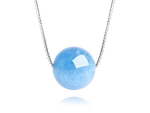 dalwa Cadena Mujer Oro Blanco plattierte Filigrana collar de plata 925con colgante azul Piedras preciosas Brasilia nischem Aquamarin Minimalist joyas Incluye regalo del paquete