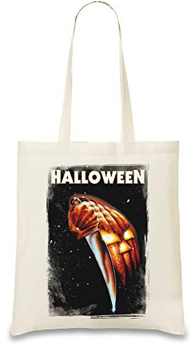 Halloween Movie Messer Angriff - Halloween Movie Knife Attack Custom Printed Tote Bag| 100% Soft Cotton| Natural Color & Eco-Friendly| Unique, Re-Usable & Stylish Handbag For Every Day Use| Custom