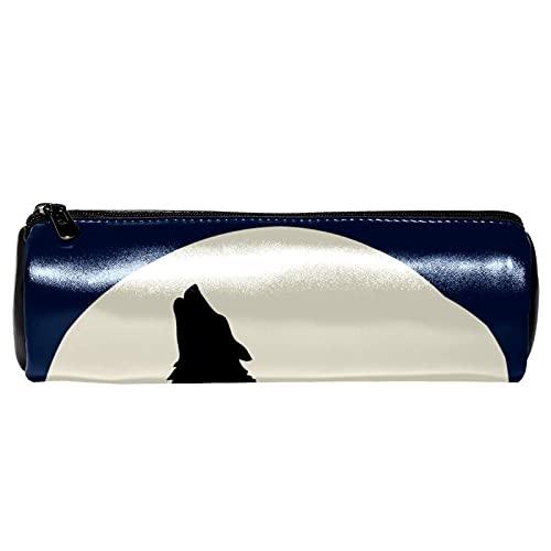 Estuche para lápices con patrón de luna llena de lobo aullando bolsa de almacenamiento, organizador de cosméticos para la escuela, adolescentes, niñas, niños, hombres y mujeres