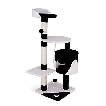 dibea Arbre à chat avec Griffoir et Centre d'Activités - 67 x 55 x 112 cm - Noir/Blanc