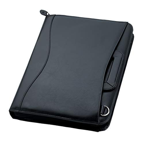 Travigo 3-Ring Shoulder Strap Business Leather Portfolio|Removable Shoulder Strap |Retractable Handles |Solar Calculator |Professional Business Folder Resume Document Organizer|Notepad Included(Black)