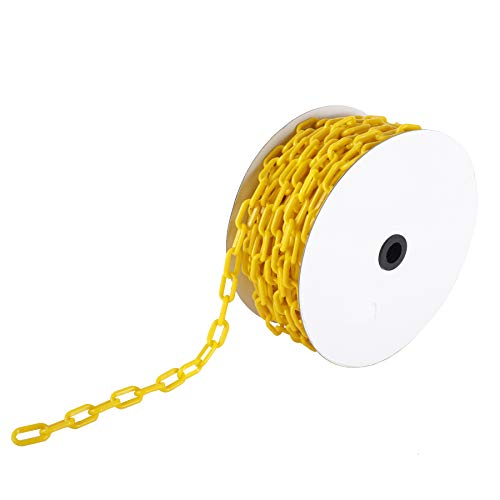 AuInn 49 FT Safety Barrier Chain,Yellow Plastic Chain Links for Crowd Control Industrial Purposes, High-Visibility 15 M, 6 MM Link Diameter)