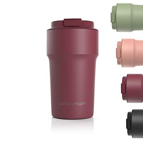 LARS NYSØM Thermo Kaffeebecher-to-go 500ml | BPA-freier Travel Mug 0.5 Liter mit Isolierung | Auslaufsicherer Edelstahl Thermobecher für Kaffee und Tee unterwegs | Teebecher (Berry)