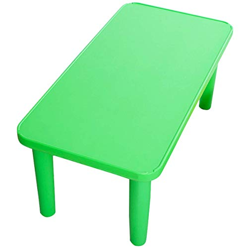 ReunionG Rectangular Kids Activity Table, Kids Play Table, Portable Plastic Table with Foot Mats, Children Activity Table for School Home Play Reading Dining, Kids Furniture for Boys Girl (Green)