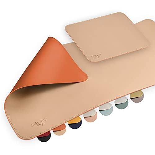 sølmo I Design Schreibtischunterlage 85 x 40cm mit Mousepad 29 x 21cm, Tischunterlage aus PU-Leder wasserdicht I Schreibtisch Unterlage groß, Schreibunterlage mit Kantenschutz (Beige / Orange)