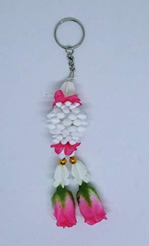 FUSAP Thai Rose Jasmine Garland Fabric Flowers Keychain-Souvenir