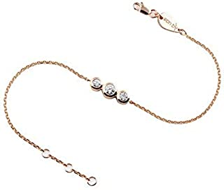 Anklet Trilogy with three Diamond with two 0.5 CT and one 0.10 CT on 18K