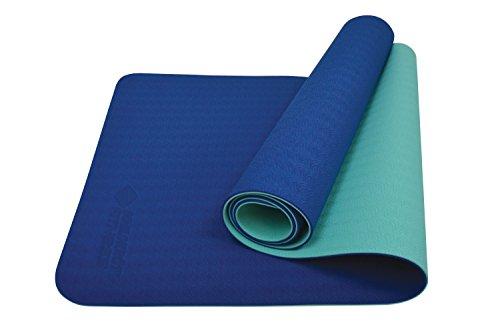Schildkröt Fitness Tappetino Yoga 4 mm Bi-Color, Blu Marino/Menta, in Una Borsa, 960067, 180x61x4 cm