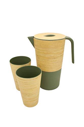 Juego de 3 piezas de bambú | Jarra con tapa de 1,7...