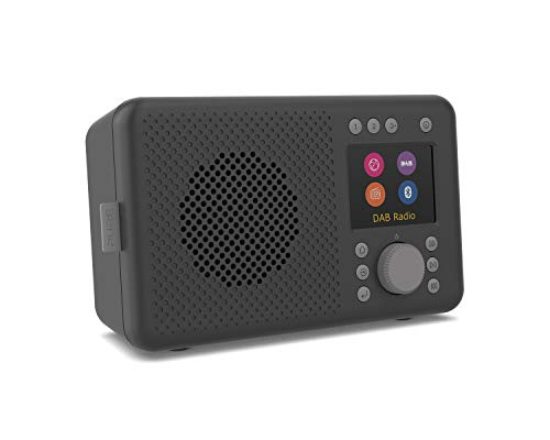 Pure Elan Connect All-In-One Internetradio mit DAB und Bluetooth 4.2 (DAB/DAB+ Digital Radio, UKW Radio, Internetradio, TFT Farbdisplay, 20 Senderspeicher, Batterie Betrieb möglich), Charcoal