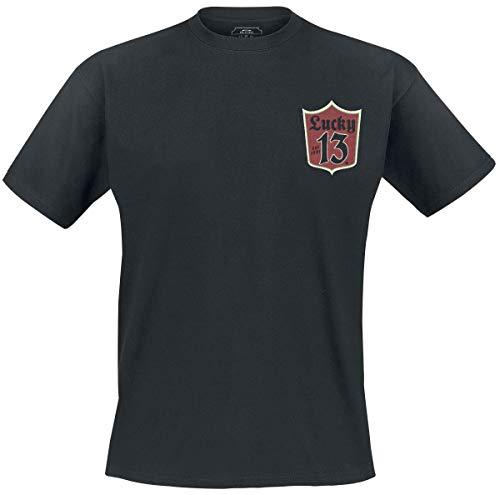 Lucky 13 Camiseta Sp17 Custom Clean Negro (XXXL, Negro)