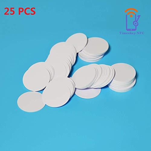 Timeskey NFC Tag NXP NTAG215 Karte Tags, Weiß PVC, 1.38 inch Durchmesser, Rund, 504 Bytes Speicher, Kompatibel Mit Amiibo 25 Stücke