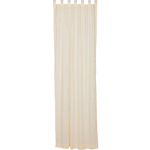 "VHC Brands Farmhouse Window Willow White Tab Top Curtain Panel, 108"" x 50"", Creme"