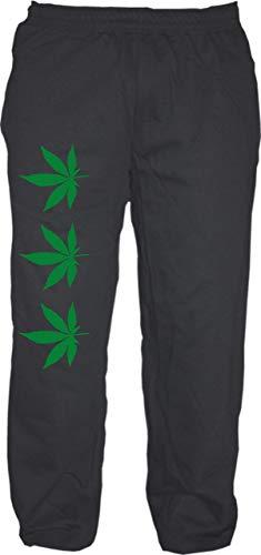 Hanf Jogginghose - Bedruckt - Sweatpants - Jogger - DREI Hanfblätter Cannabis Schwarz M