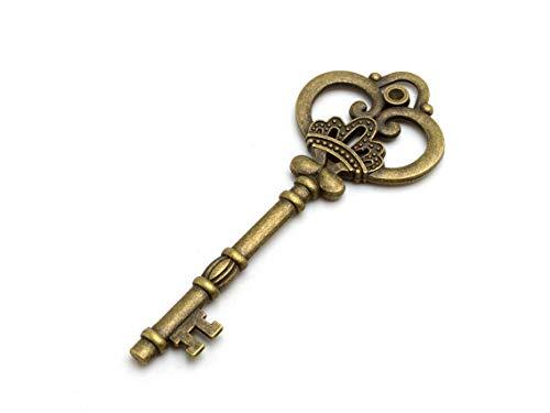 Vintageparts Schlüssel in antik Bronze mit Krone und Fassung für einen Strassstein zur Hochzeit als Deko oder für DIY Schmuck