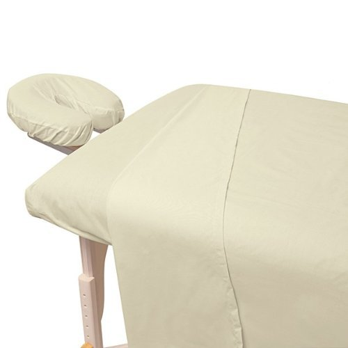 Atlas Natural Unbleached 3-Piece Massage & Spa CottonPoly Table Linen Set with Soil Release Finish, Large Flat Sheet, Quality Preferred by Professionals, 190 Thread Count Percale