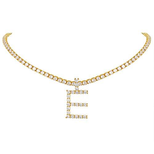 FindChic イニシャルネックレスE テニスチェーン チョーカー レディース CZジルコニア 18金 真鍮 キラキラ おしゃれ 綺麗 豪華 アクセサリー 女性 35cm