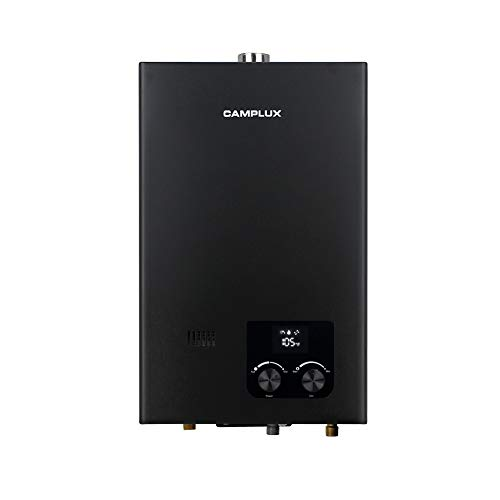 Camplux 2.64 GPM Residential Indoor Tankless Water Heater,On-Demand Instant Water Heater with Fahrenheit Digital Display, Liquefied Propane Gas Water Heater for Small Homes, Apartments Use, Black